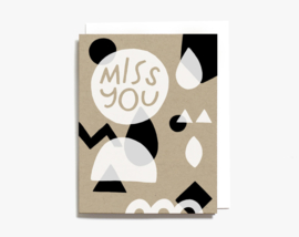 Dubbele kaart | Miss you Geometric Shapes