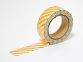 Masking tape | Gold foil striped ombre pink