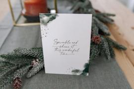 Kerstkaart met gouddruk - Sparkle and shine at this wonderful time