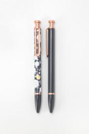 Balpennen set van 2 - Bloemen, grijs