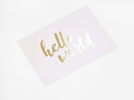 Kaart goud folie | Hello world