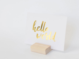 Greeting card gold foil | Hello world