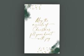 Kerstkaart met gouddruk - May the miracle of Christmas fill your heart with joy
