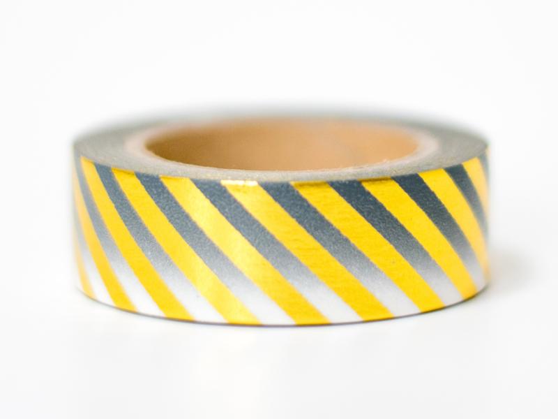Masking tape | Goudfolie strepen ombre zwart
