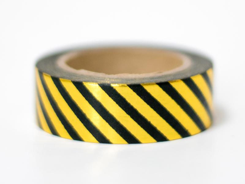 Masking tape | Goudfolie strepen zwart
