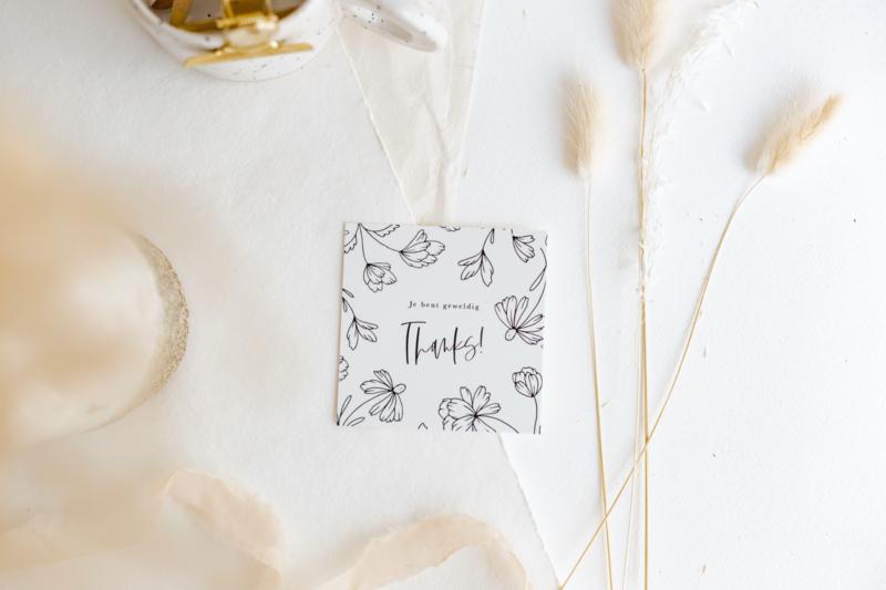 Mini Kaartje floral 'Thanks'