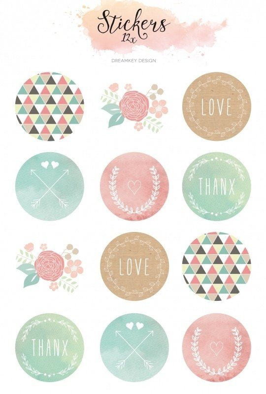 Sticker sheet watercolor