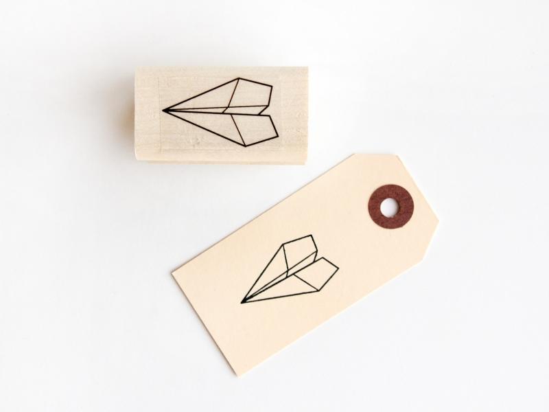 Stempel papieren vliegtuigje
