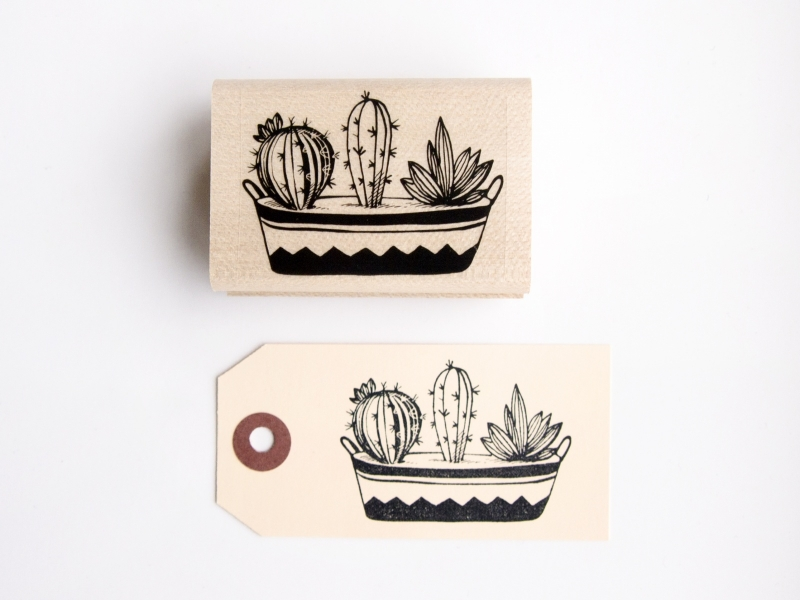 Stamp | Cactus in bucket