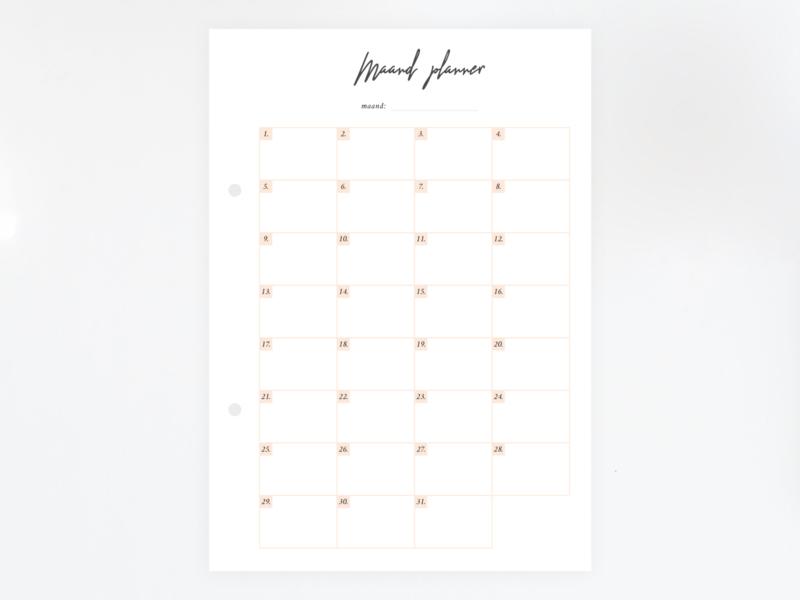 Maandplanner - Vulling