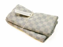 Pale blue/grey checked tea towel, Axlings