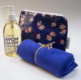 Gift set washbag with towel and liquid handwash
