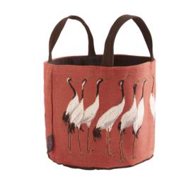 White cranes large basket terra, Art de Lys
