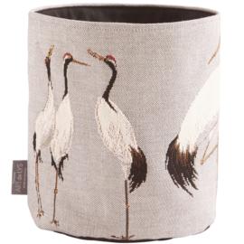 White cranes small basket grey, Art de Lys