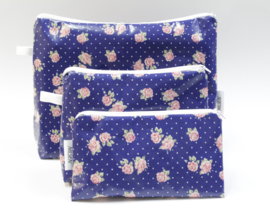 'Cobalt Roses' cosmetic bag