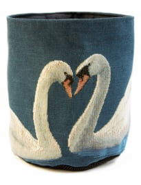 Swan, dark blue small basket