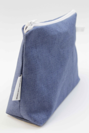 Linen denim blue make-up bag, Nilsen