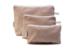 Linen, light pink, cosmetic bag
