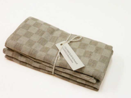 Taupe checked tea towels, Axlings
