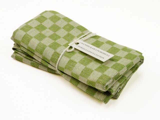 Forest green checked kitchen towels