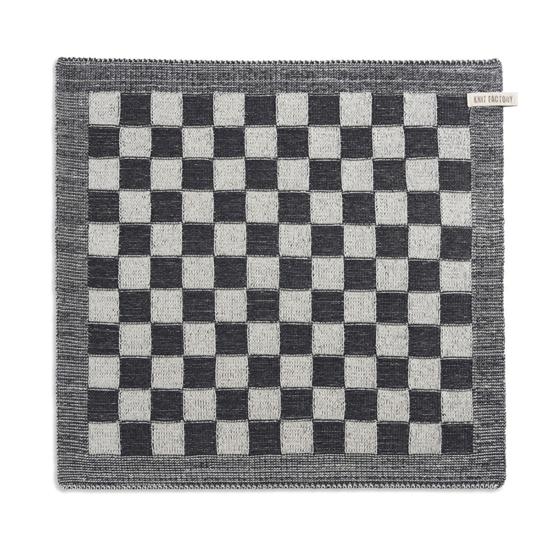 Knitted checked towel, almost black