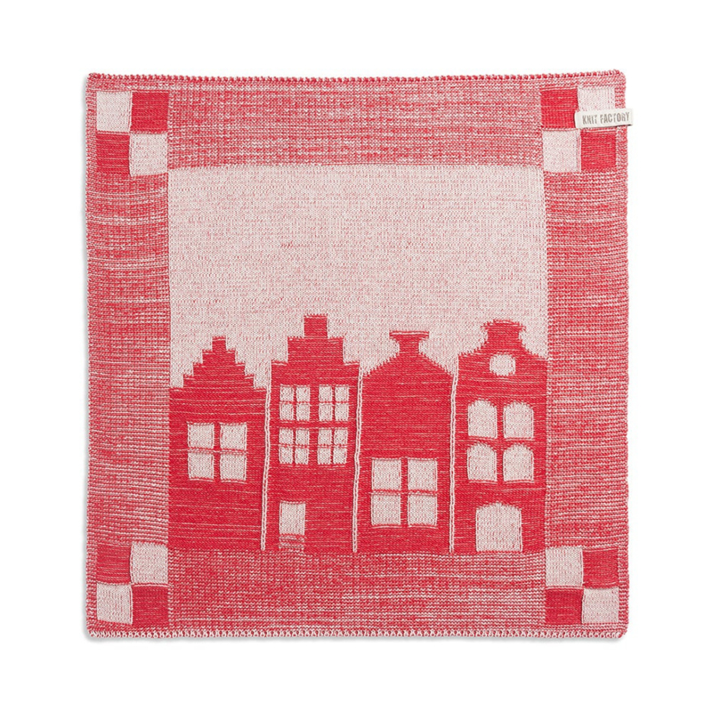 Knitted Dutch canal house towel, red