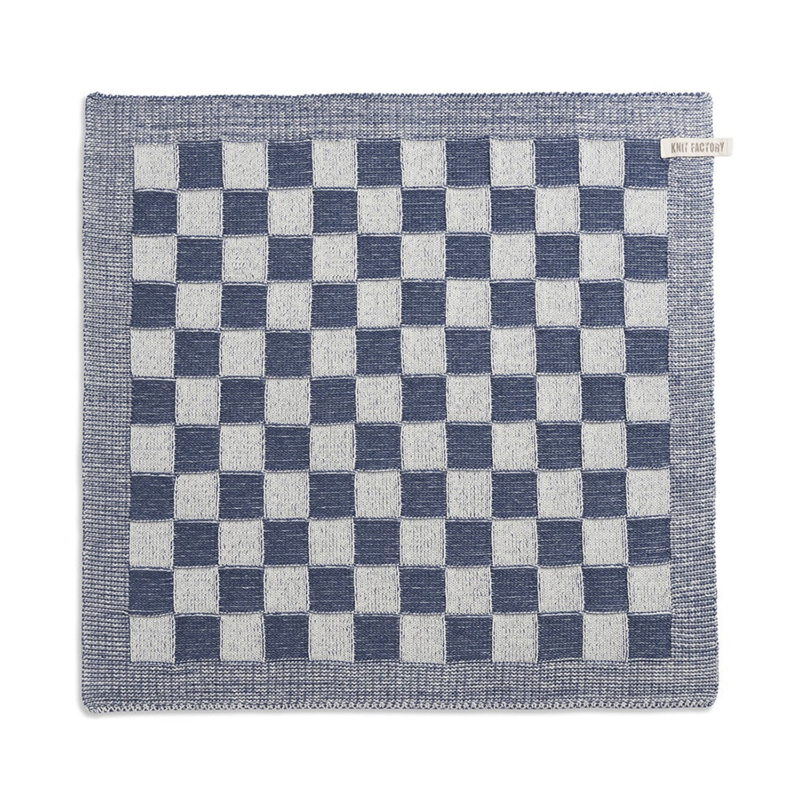 Knitted checked towel, dark blue