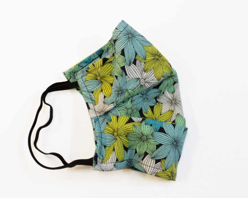 Face mask, Green flowers