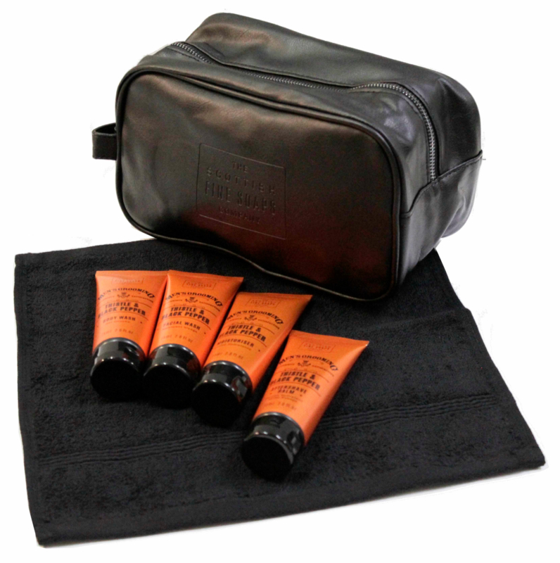 Washbag with mini products, Thistle & Back Pepper