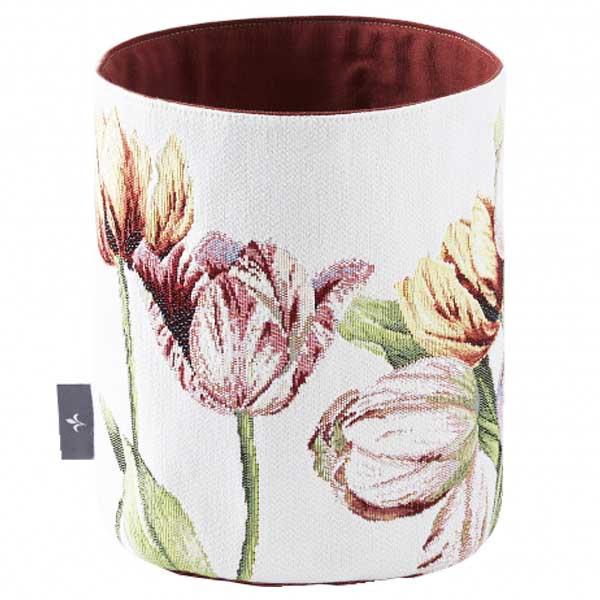 Tulips, white small basket