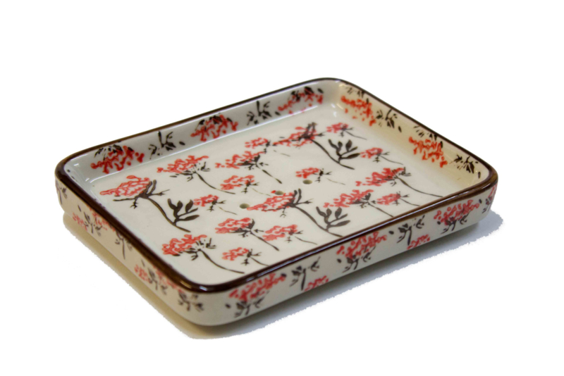 Soap dish, red flowers