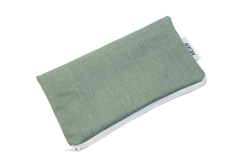 Linen Mint cosmetic bag, Nilsen