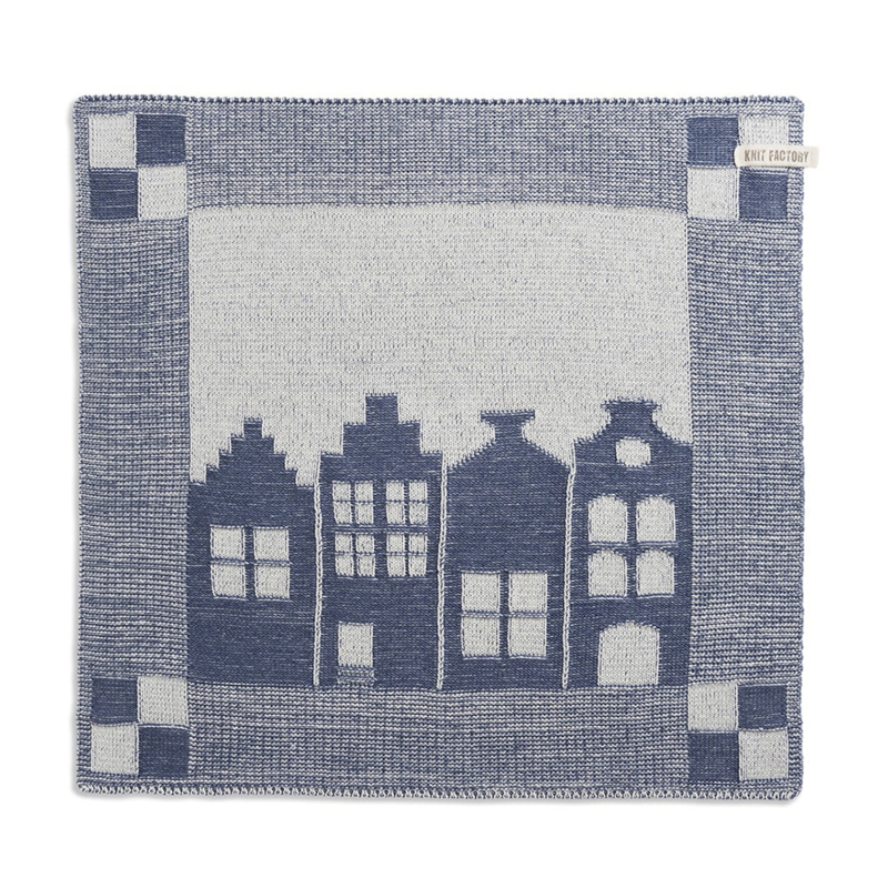 Knitted Dutch canal house towel, dark blue