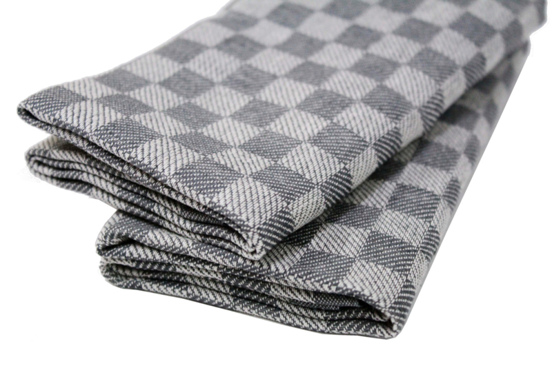 Stone grey checked kitchen towels