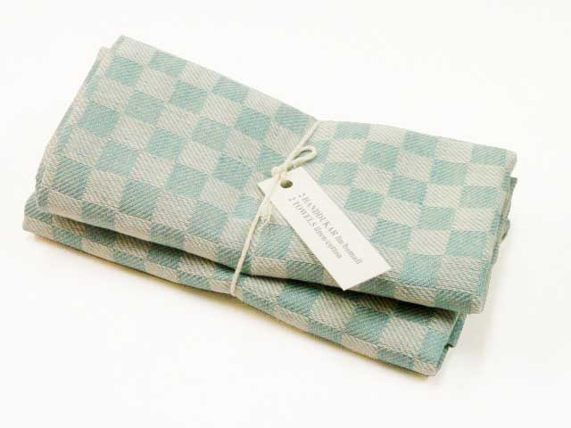 Turquois checked kitchen towels