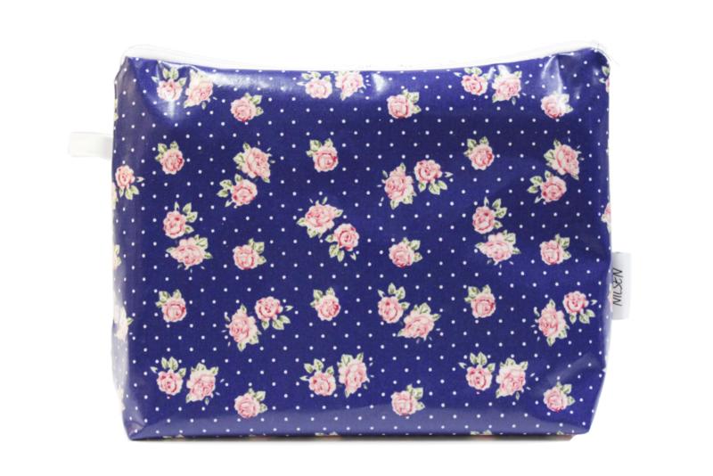 'Roses' cobalt blue, wash bag NILSEN