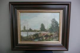 Schilderij: fraai landschap bomen aan het water, olieverf