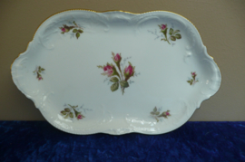 Rosenthal porselein: Schaaltje 24,5x15 cm wit met roosjes Classic Rose Collection