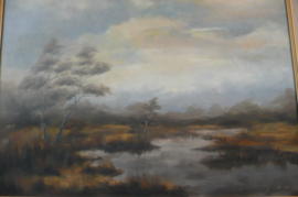7 Schilderij olieverf op doek landschap met heide gesign. F. Liebregts