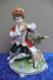 Porseleinen beeld Thüringen / Duitsland herder met schaapje