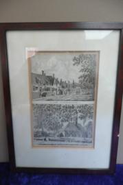 Kopergravure achter glas T'Dorp Ooster Souburg / T'Dorp Koudekerk 18x24 cm