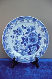 20% KORTING: de Porceleyne Fles wandbord floraal decor nr. 1412 jaarletter CR=1972 doorsnede 25 cm schilder CWO (Mw. C.M. Wolve 1965-1976)