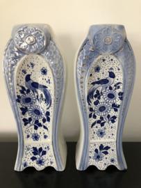 Set Art Deco vazen blauw/wit Faience A.M.C.België