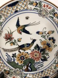 de Porceleyne Fles polychroom bord nr. 1969 decor vogels 19 cm