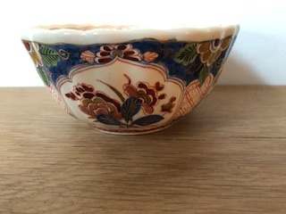 de Porceleyne Fles 4 kastkommen decor Pijnacker (MET GROEN!)  doorsnede 14 cm hoogte 7 cm