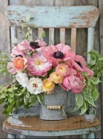 diamond painting, garden flowers