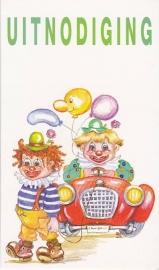 uitnodiging clown, per 4 stuks