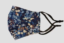 mondkapje, donkerblauw met bloemetjes