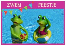 uitnodigingen zwemfeestje, per 12 stuks