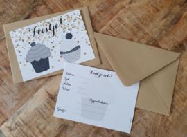 uitnodigingen cupcake, per 4 stuks